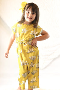 Limited Edition - Yellow Floral Jumpsuit with Drawstring Detail