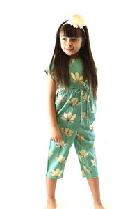 Limited Edition - Green Floral Jumpsuit with Drawstring Detail