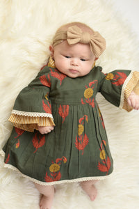 Printed & Stripe Lace Detail Infant Dress & Diaper Cover