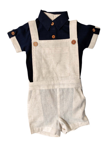 Infant Romper-Shirt and Overalls Set -Navy & Ivory
