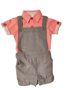 Infant Romper-Shirt and Overalls Set - Coral & Grey