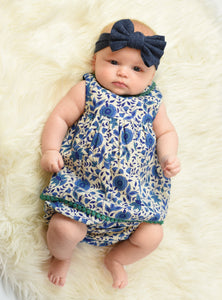 Blue Pottery Inspired Lace Dress And Diaper Cover - Kids Clothing, Dress - Girls Dress, Yo Baby Online - Yo Baby