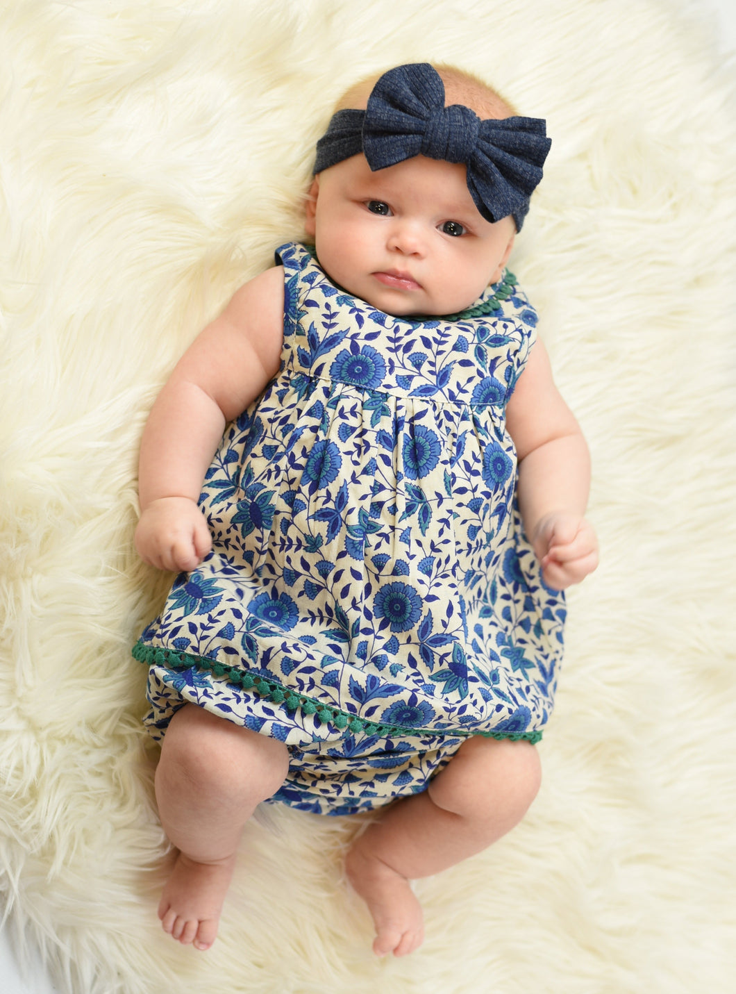 Blue Pottery Inspired Lace Dress And Diaper Cover