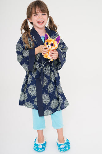 Printed Cotton Kimono Style House-Robe - Kids Clothing,  - Girls Dress, Yo Baby Online - Yo Baby