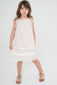 Off-white Pillow-case Lace Dress - Kids Clothing, Dress - Girls Dress, Yo Baby Online - Yo Baby