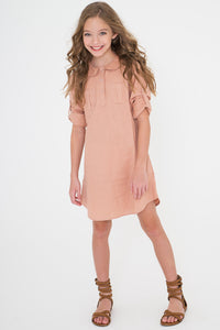 Blush Shirt Dress - Kids Clothing, Dress - Girls Dress, Yo Baby Online - Yo Baby