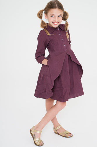 Aubergine Shirt Dress With Flounce Details and Pockets - Kids Clothing, Dress - Girls Dress, Yo Baby Online - Yo Baby