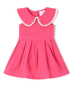 Fuchsia Big Peter-Pan Collar Infant Dress - Kids Clothing, Dress - Girls Dress, Yo Baby Online - Yo Baby