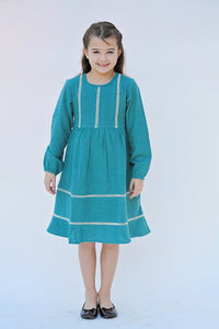 Teal Pin-Tuck and Lace Detail Dress - Kids Clothing, Dress - Girls Dress, Yo Baby Online - Yo Baby