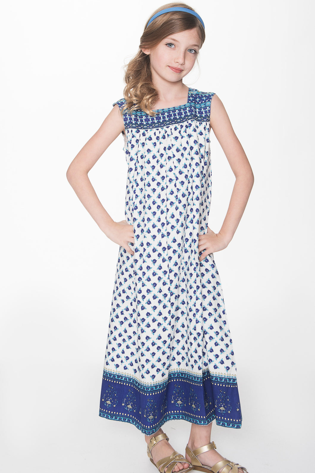 Blue and White Floral Maxi Dress - Kids Clothing, Dress - Girls Dress, Yo Baby Online - Yo Baby