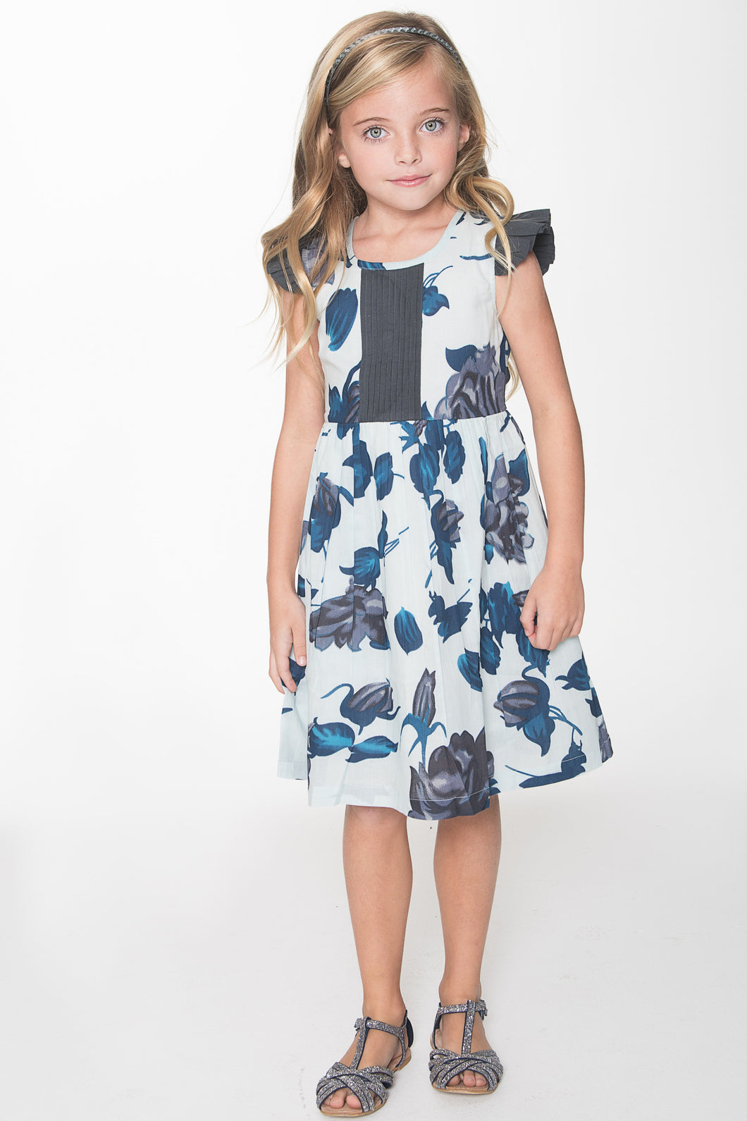 White and Blue Floral with  Grey Pin-Tuck and Frilled Cap Sleeve Dress - Kids Clothing, Dress - Girls Dress, Yo Baby Online - Yo Baby