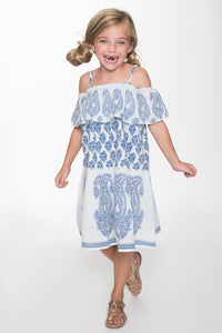 Blue and White Paisley Off-shoulder Dress - Kids Clothing, Shirt-Dress - Girls Dress, Yo Baby Online - Yo Baby