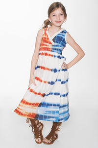 Orange and Blue Shibori Maxi Dress - Kids Clothing, Shirt-Dress - Girls Dress, Yo Baby Online - Yo Baby