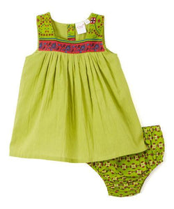 Parrot Green Infant Shift Dress - Kids Clothing, Dress - Girls Dress, Yo Baby Online - Yo Baby