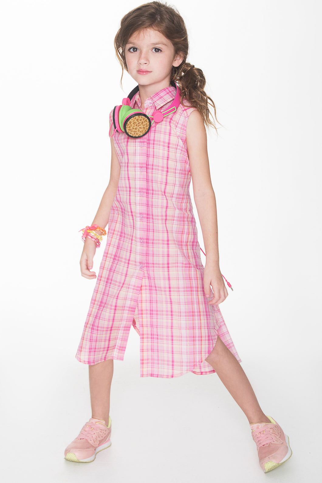 Pink Checks Lurex Shirt Dress - Kids Clothing, Dress - Girls Dress, Yo Baby Online - Yo Baby