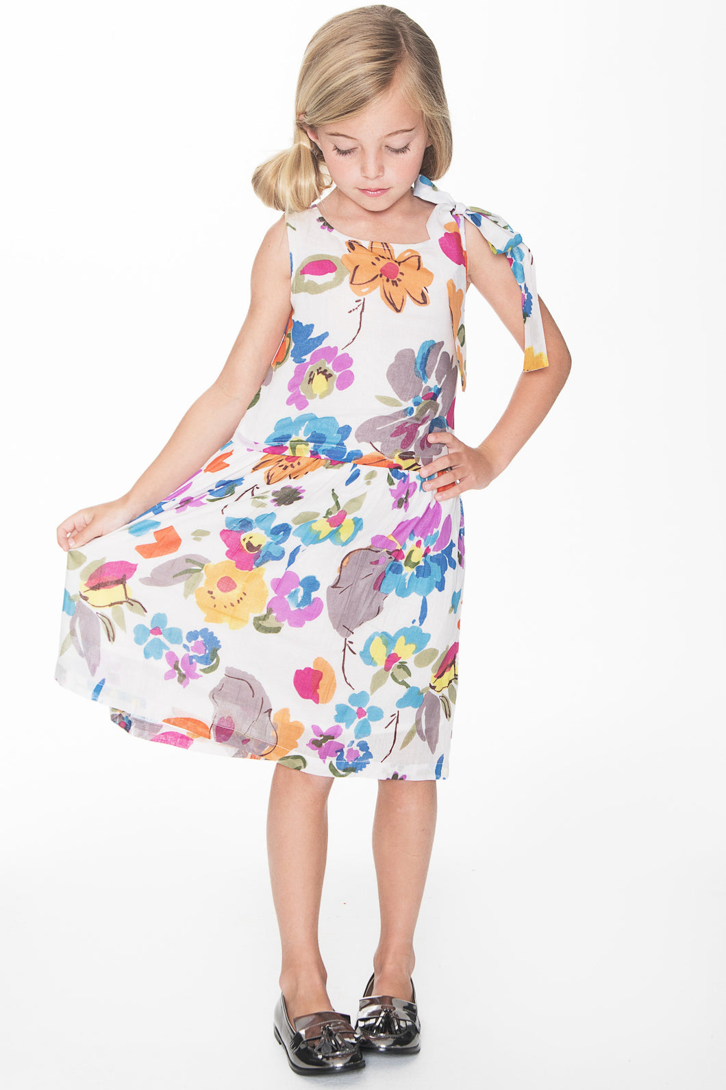 Floral Tie-Dress - Kids Clothing, Dress - Girls Dress, Yo Baby Online - Yo Baby