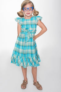Turquoise Checks Dress - Kids Clothing, Dress - Girls Dress, Yo Baby Online - Yo Baby