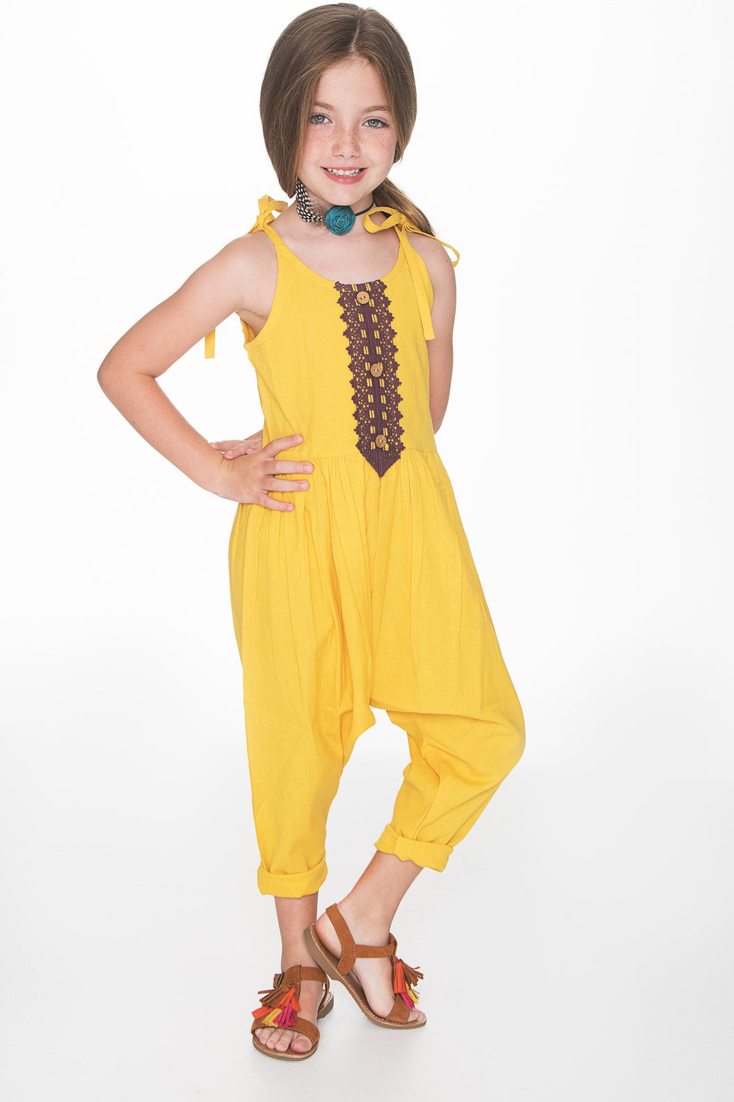 Yellow Jumpsuit with Lace Detail - Kids Clothing, Dress - Girls Dress, Yo Baby Online - Yo Baby