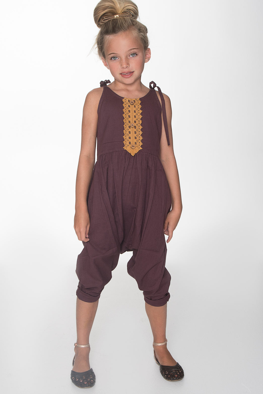 Burgundy Jumpsuit with Lace Detail - Kids Clothing, Dress - Girls Dress, Yo Baby Online - Yo Baby