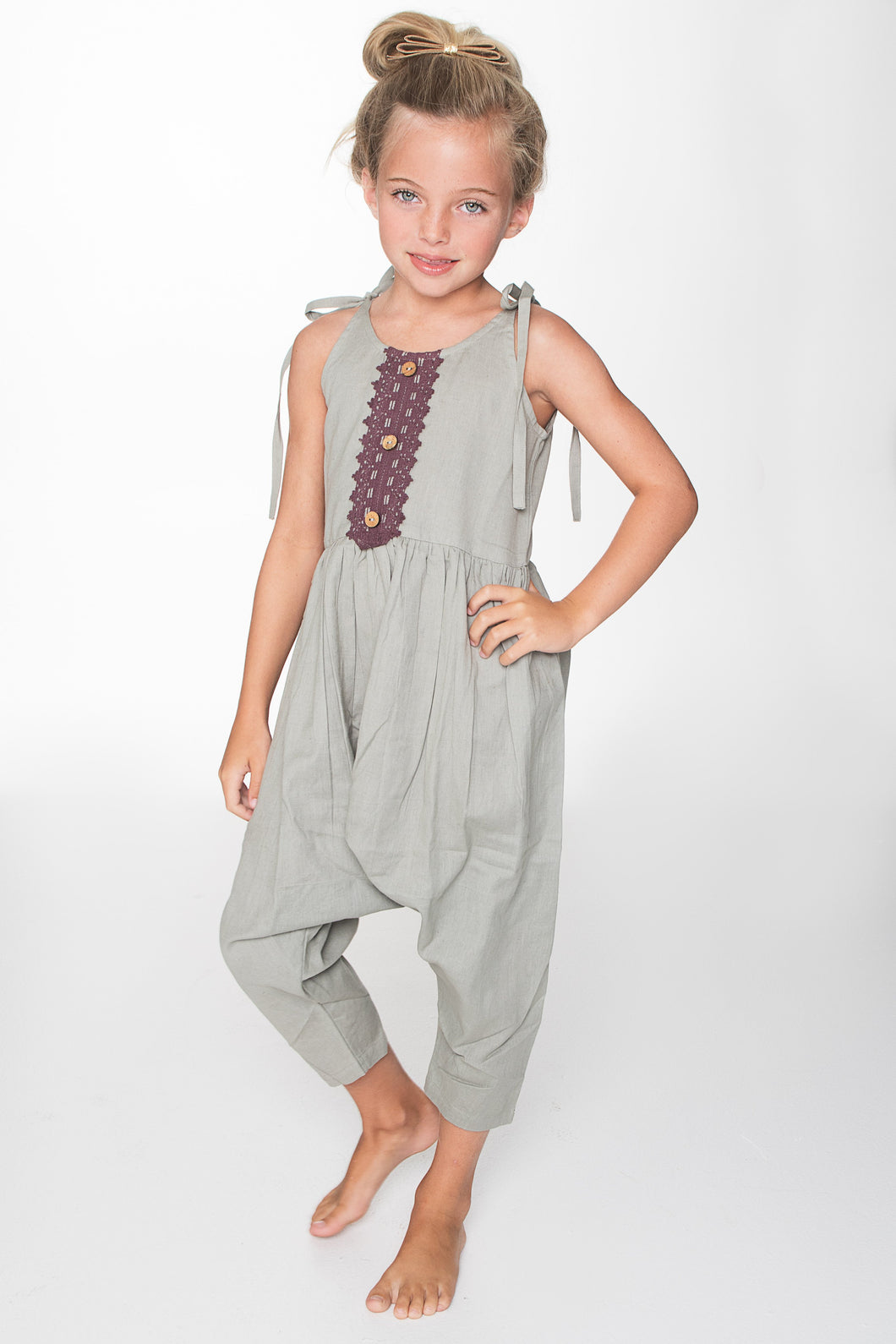 Grey Jumpsuit with Lace Detail - Kids Clothing, Jump Suit - Girls Dress, Yo Baby Online - Yo Baby