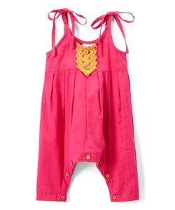 Hot Pink with Mustard Lace Detail Infant Romper - Kids Clothing, romper - Girls Dress, Yo Baby Online - Yo Baby