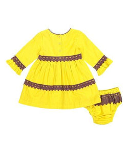 Yellow with Burgundy Lace Detail Shift Dress & Diaper Cover - Kids Clothing, Dress - Girls Dress, Yo Baby Online - Yo Baby