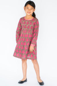 Fuchsia Paisley Shift Dress - Kids Clothing,  - Girls Dress, Yo Baby Online - Yo Baby