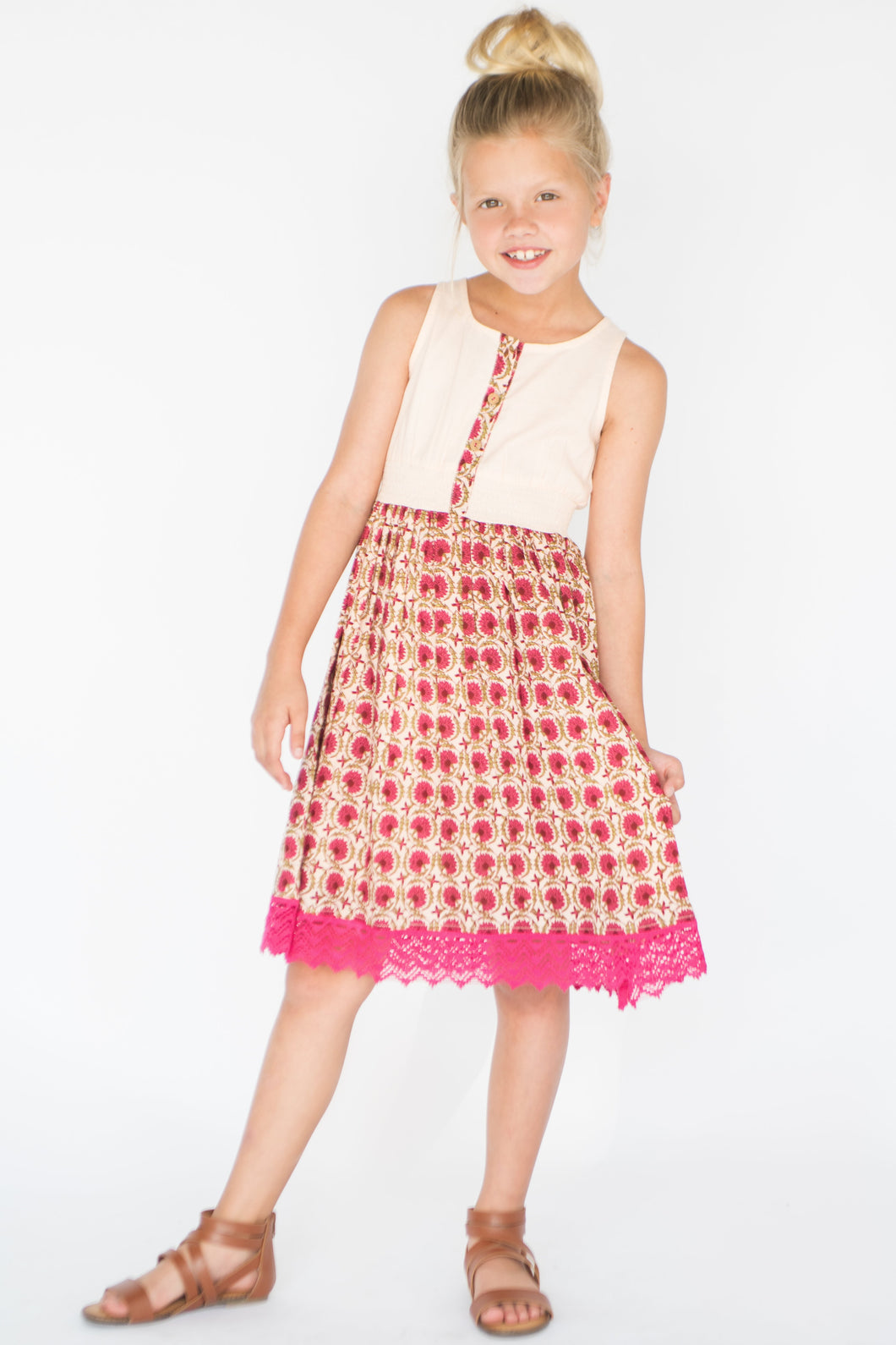 Pink Floral Lace-Trim A-Line Dress - Kids Clothing, Dress - Girls Dress, Yo Baby Online - Yo Baby