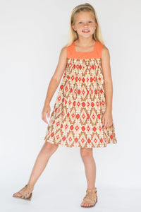 Brown & Orange Abstract Babydoll Dress