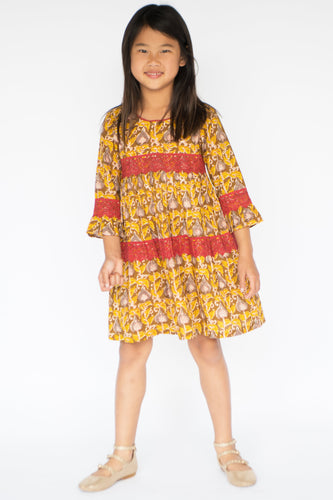 Yellow & Brown Floral Bell-Sleeve Dress - Kids Clothing, Dress - Girls Dress, Yo Baby Online - Yo Baby
