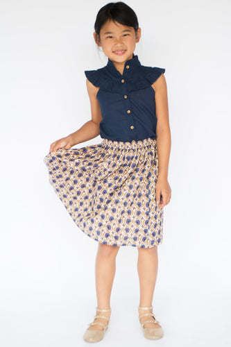 Navy Button-Up Top & Floral Skirt - Kids Clothing, 2-pc. set - Girls Dress, Yo Baby Online - Yo Baby