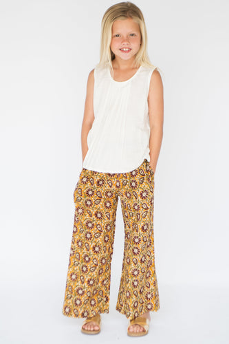 Off - White Pin Tuck Blouse and Mustard Printed Pants 2pc. set