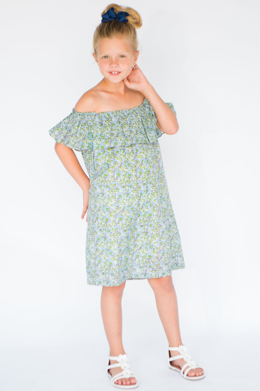 Powder Blue Printed Off-Shoulder dress - Kids Clothing, Dress - Girls Dress, Yo Baby Online - Yo Baby
