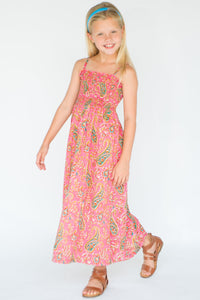 Pink Paisley Print Maxi Dress - Kids Clothing, Dress - Girls Dress, Yo Baby Online - Yo Baby