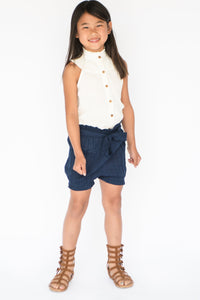 Navy-Blue High Waist Paper Bag style Shorts and Frill Blouse