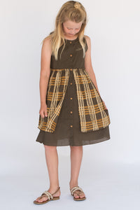 Cement Checked Layered Dress - Kids Clothing, Dress - Girls Dress, Yo Baby Online - Yo Baby