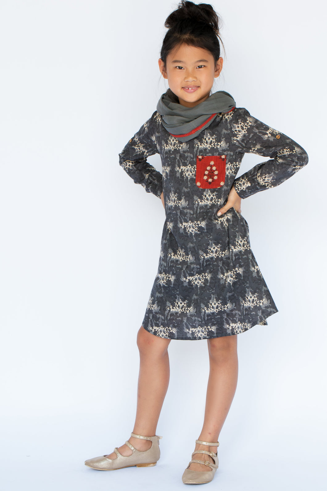 Grey Lotus Print Dress & Scarf Set - Kids Clothing, 2-pc. set - Girls Dress, Yo Baby Online - Yo Baby