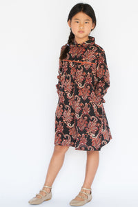 Black Floral Lace Detail Dress - Kids Clothing, Shirt-Dress - Girls Dress, Yo Baby Online - Yo Baby
