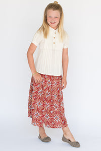 Greco-Roman Skirt & Pleated White Top Set - Kids Clothing, 2-pc. set - Girls Dress, Yo Baby Online - Yo Baby