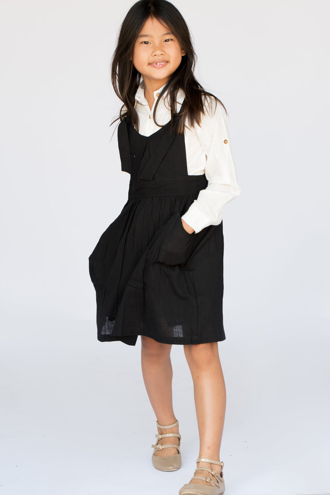 Black Overall Dress & Shirt Two Piece Set