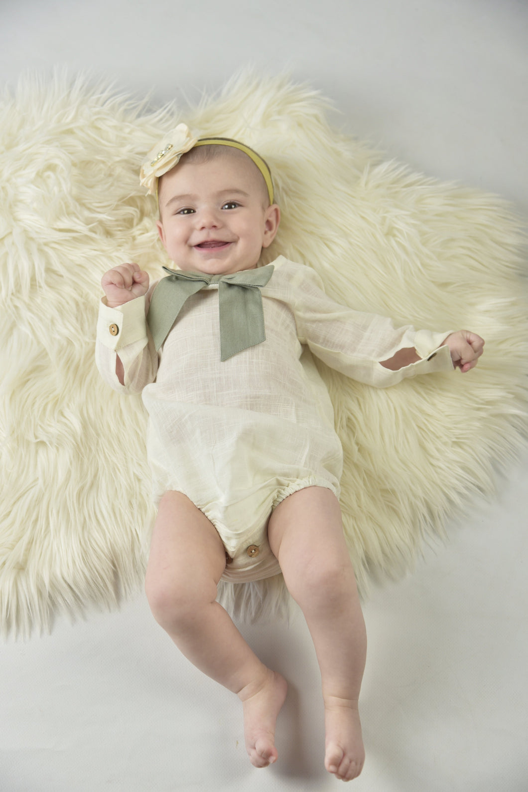 White Romper With Attached Bow-Sage