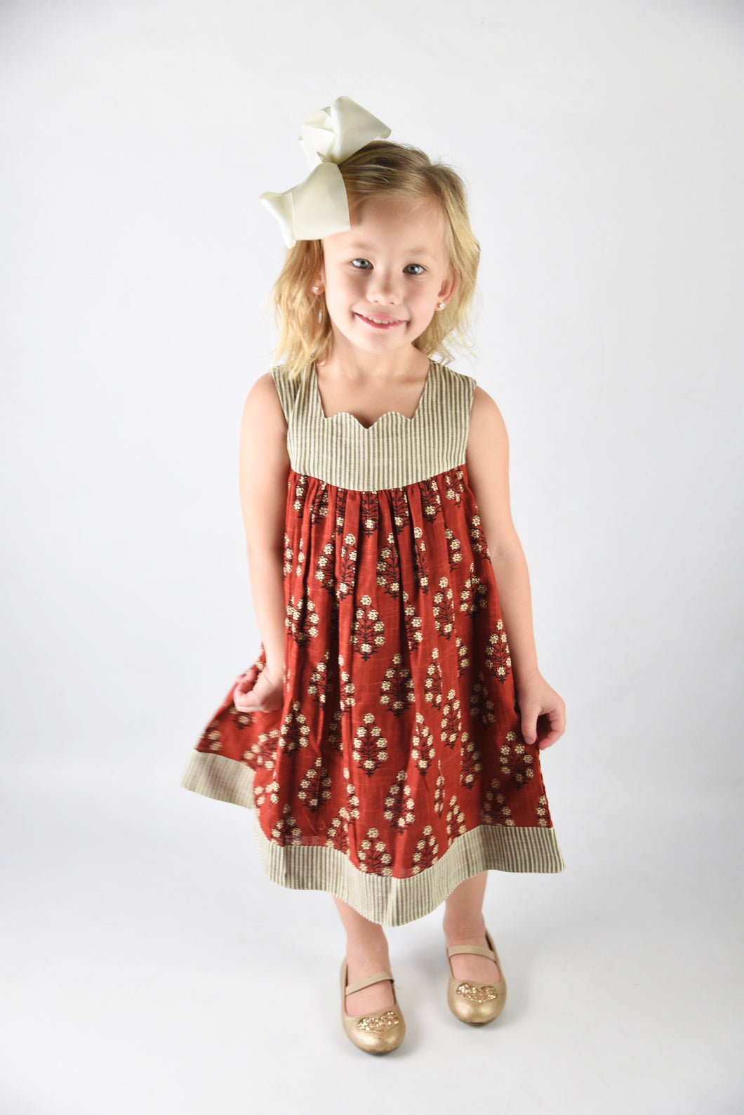 Maroon Sleeveless Dress with Pin Stripe Detail - Kids Clothing, Dress - Girls Dress, Yo Baby Online - Yo Baby