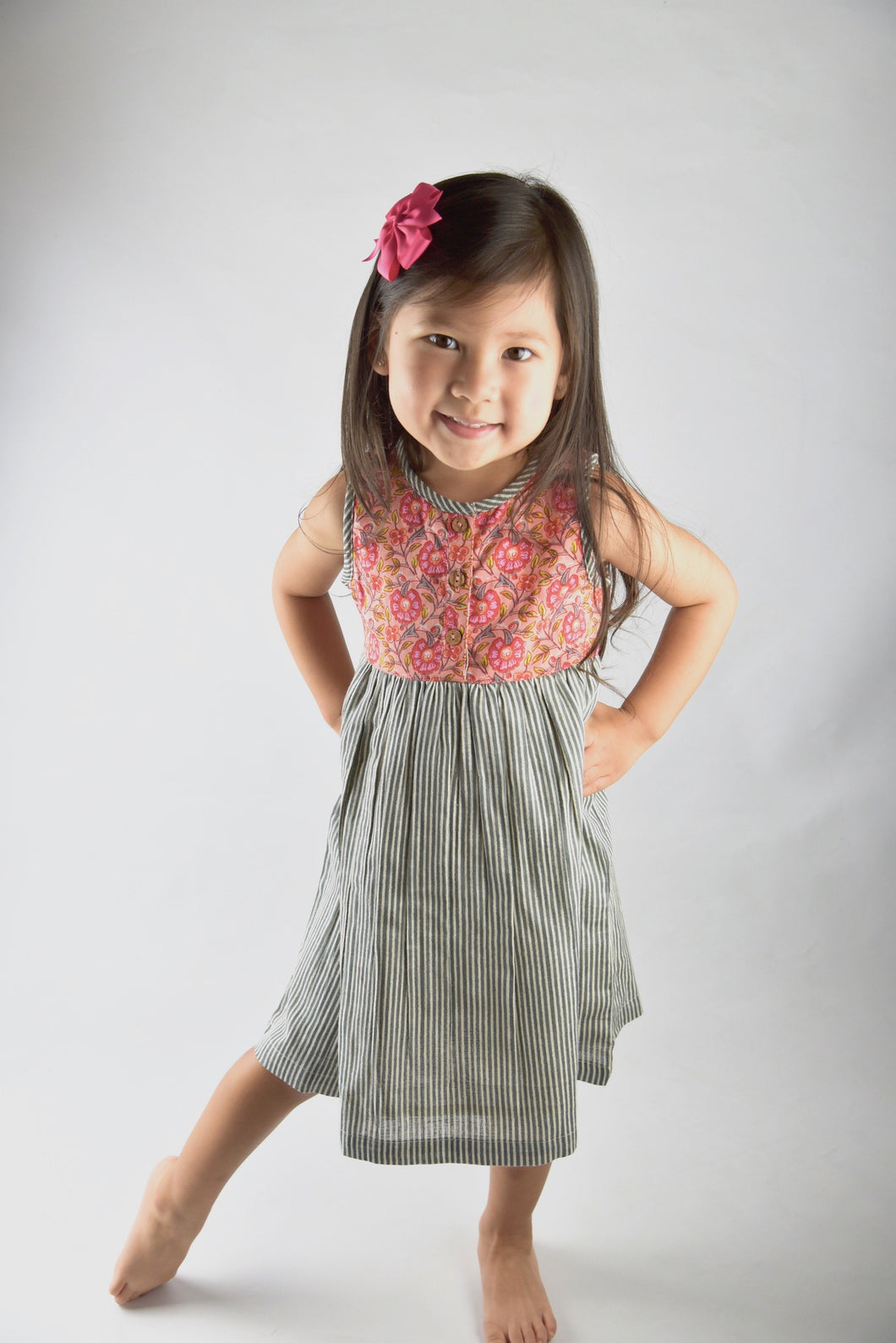 Floral And Grey Pin Stripe Dress - Kids Clothing, Dress - Girls Dress, Yo Baby Online - Yo Baby