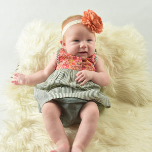 Floral And Grey Pin Stripe Dress With Matching Bloomer - Kids Clothing, Dress - Girls Dress, Yo Baby Online - Yo Baby