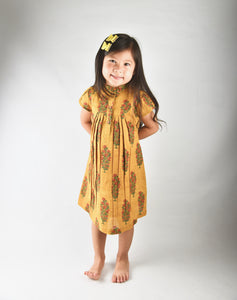 Mustard Printed Dress with Yoke Detail and Chinese Collar