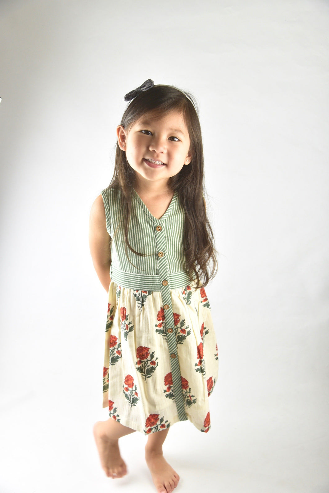 Off-white with Red Orange Floral Print and Green Pinstripe Belted Dress - Kids Clothing, Dress - Girls Dress, Yo Baby Online - Yo Baby