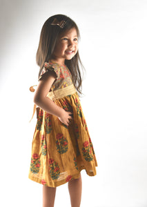 Mustard Multi Print Flutter Sleeves Belted Dress - Kids Clothing, Dress - Girls Dress, Yo Baby Online - Yo Baby