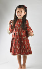 Maroon Dress with Pin Stripe Detail on Sleeve and Neck - Kids Clothing, Dress - Girls Dress, Yo Baby Online - Yo Baby