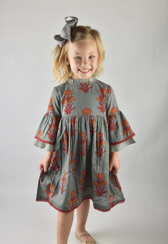 Grey Floral Dress With Pin Stipe Trim - Kids Clothing, Dress - Girls Dress, Yo Baby Online - Yo Baby