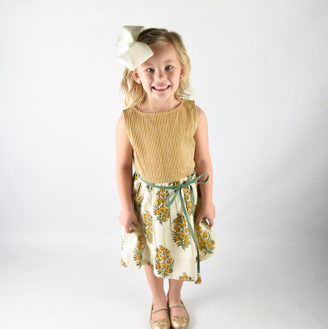 Off White Yellow Floral and Stripes Print Dress - Kids Clothing, Dress - Girls Dress, Yo Baby Online - Yo Baby